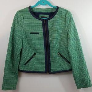 The Limited Green Tweed Moto Jacket Blazer